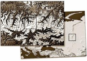 A imagem de satélite examinada de Mt Yamantau.