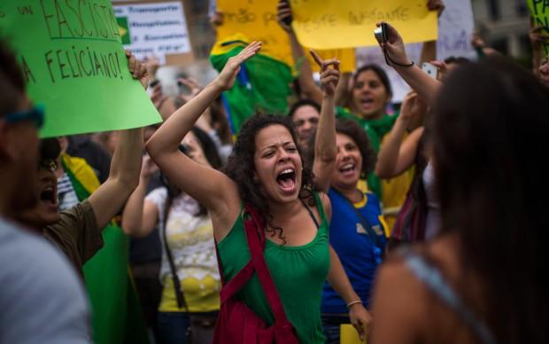 Spain Brazil protest