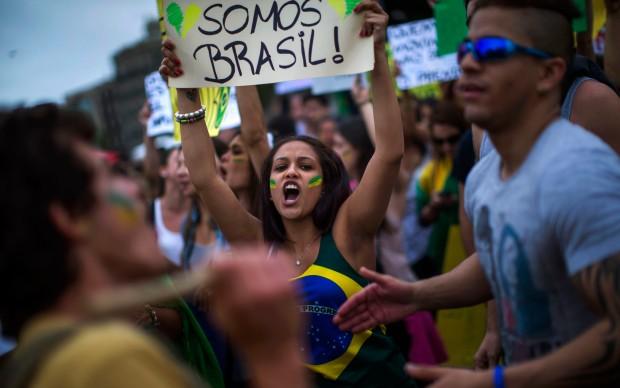 Spain Brazil protest.