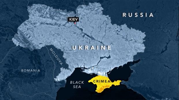 Mapa da Ucrânia e da Criméia, que passou à Rússia em 2014, após referendo. Clique na imagem para ampliar [res. 1024 × 576].