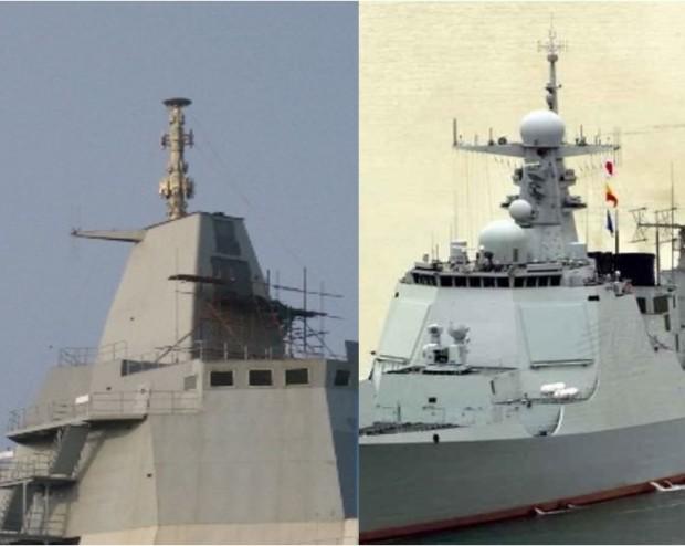 Uma comparação das estruturas de mastro integradas da maquete do Tipo 055 e do tipo ativo 052D Kunming. Observe a localização dos dois painéis de radar de fase ativa no Kunming. A grande superestrutura inclinada, logo abaixo dos portais de pontes laterais de estibordo no Tipo 55, será equipada com um painel APAR semelhante. Clique na imagem para ampliar. [res. 777 × 620]