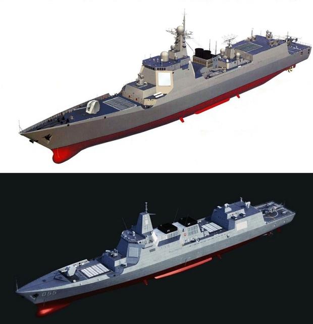 As ilustrações acima mostram claramente as semelhanças e diferenças entre os destruidores de mísseis guiados Tipo 052D (topo) e Tipo 055 (inferior). Clique na imagem para ampliar. [res. 800 × 830]