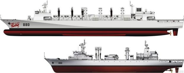 O Tipo 903 de reabastecimento de combustível (parte inferior) e navios de apoio de carga seca/armazenamento geral Tipo 904. Clique na imagem para ampliar. [res. 920 × 369]