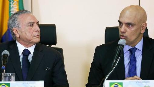 Figuras da decadência: Temer e Alexandre de Morais, o advogado do cartel do crime, indicado para juiz do Supremo Tribunal.