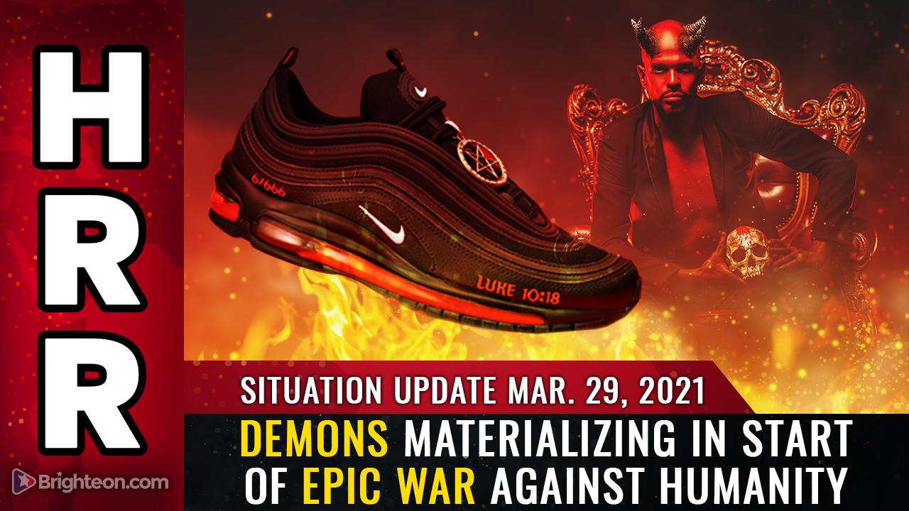 """""""Tênis de Satanás"""" são promovidos abertamente, são cobertos por imagens satânicas e afirmam conter uma gota de sangue humano real."""
